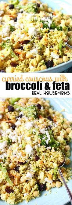 Try this flavorful Curried Couscous with Broccoli and Feta for an easy weeknight dinner. Its ready in under 15 minutes and never disappoints! via Real Housemoms dinner ideas for christmas Veggie Side Dishes, Healthy Side Dishes, Side Dishes Easy, Side Dish Recipes, Dinner Recipes, Dinner Ideas, Vegetarian Recipes Easy, Cooking Recipes, Healthy Recipes