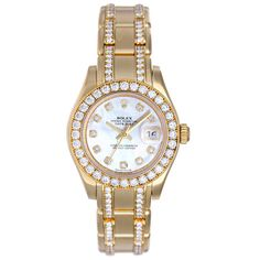 Rolex Lady Datejust Pearlmaster Gold Diamond Watch 80298 74948   From a unique collection of vintage wrist watches at http://www.1stdibs.com/jewelry/watches/wrist-watches/