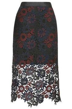 Tonal Lace Pencil Skirt