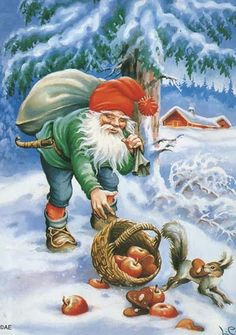 New Double Christmas Cards by Lars Carlsson Vintage Styled Gnome Squirrel