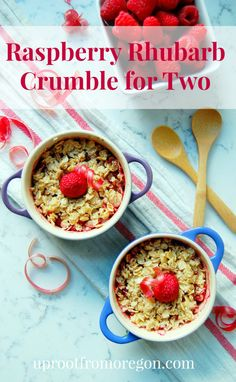 Raspberry Rhubarb Crumble for Two #gf #vegan | uprootfromoregon.com @maris