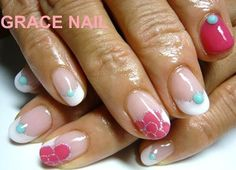 hot pink/turquoise camellia nail
