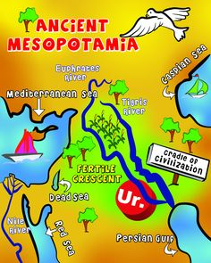 Map of Mesopotamia Mesopotamia was the cradle of civilization. This spot was perfect because it was near canals which is good for drinking, transportation and trade. The climate was hot so it was very good to grow crops. Map Activities, History Activities, Teaching History, 6th Grade Social Studies, Teaching Social Studies, Ancient Mesopotamia, Ancient Civilizations, Mesopotamia Lesson, World History Classroom