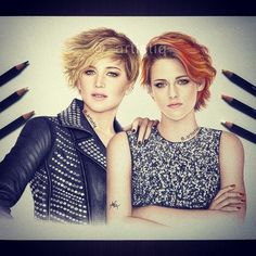 Fan made drawing with colored pencils of Kristen Stewart and Jennifer Lawrence