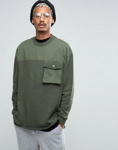 Buy ASOS Oversized Longline Sweatshirt With Woven Yoke Pocket & Taping Detail at ASOS. With free delivery and return options (Ts&Cs apply), online shopping has never been so easy. Get the latest trends with ASOS now. Shirt Print Design, Shirt Designs, Outdoor Fashion, Apparel Design, Fashion Branding, Mens Sweatshirts, Street Wear, Menswear, Asos Boots