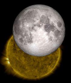 Dos imágenes obtenidas por la NASA , mediante la utilización de distintos mecanismos de observación tridimensional utilizados por separado, dan como resultado esta particular imagen conjunta de la luna y el sol. (AFP)