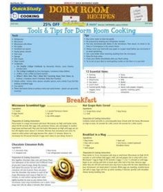 Dorm Room Recipes. This would make for a great board in Glengarry or areas with access to sinks / kitchenettes.