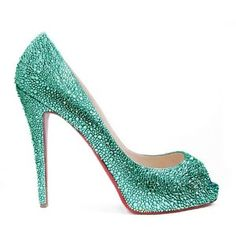 Green diamonds high heel shoes