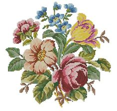 Flowers bouquet antique pattern for Berlinwork or cross stitch