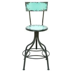 Adjustable metal barstool with a distressed finish