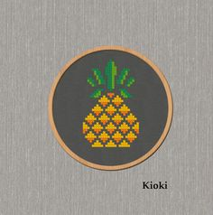 Pineapple Cross Stitch Pattern available for instant download via Etsy.