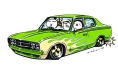 "CRAZY CAR ART ""DATSUN U620"" original characters ""mame mame rock"" / © ozizo Official web shop ""STAY CRAZY (in Society6)"" Official web shop ""ozizo(in Redbubble)"" ""Crazy Car Art"" Line stickers ""Crazy car Art"" Telegram stickers"