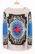 Apricot Long Sleeve Rose Geo Pattern Sweater $33.06 #SheInside