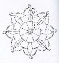 from Motif / Edging Crochet Snowflake Pattern, Crochet Motif Patterns, Form Crochet, Crochet Snowflakes, Crochet World, Crochet Diagram, Crochet Chart, Crochet Doilies, Crochet Flowers