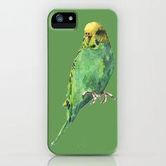 Budgie, parakeet, budgerigar, whos a pretty boy then, bird art iPhone Case by eastwitching - $35.00