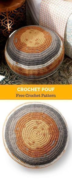 An easy and trendy crochet pouf to make your space extra cozy! Crocheted in Caron Big Cakes, Tiramisu. This easy crochet pouf pattern is simple to make Crochet Pouf Pattern, Crochet Cushions, Crochet Yarn, Crochet Floor Cushion, Crochet Home Decor, Diy Crochet Gifts, Crochet Decoration, Modern Crochet, Crochet Patterns For Beginners