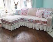 shabby chic sectional sofa vintage rose chenille bedspread slipcover ruffle white custom order new cottage prairie