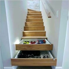 Space saver storage idea. Make use of unused space beneath the stairs.