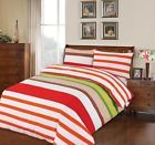 STRIPES RED LIME GREEN WHITE 100% EGYPTIAN COTTON DUVET COVER BED SET IN DOUBLE