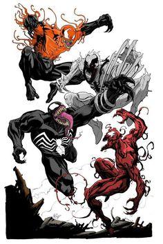 Symbiote battle, toxin,  anti-venom,  venom,  and carnage