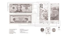 US Banknotes Redesigned. $50. (2014 USD PROPOSAL) By Travis Purrington. Diagram showing security features of these designs. Nice diagram.