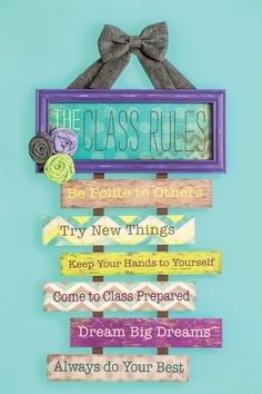 Who says class rules have to be boring? This classroom wall decor adds a decorative touch and a practical message! hous rule, house rules