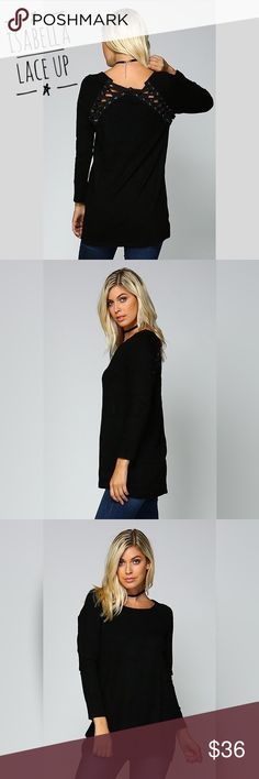"""It's here!!! Isabella Lace Up Sweater Make an exit in this perfect lightweight, knit sweater. Detailed with an eyelet lace up back, long sleeve, and round neck. Loose fit tunic style that goes perfect with leggings or your favorite jeans. Fabric: Acrylic Spandex Measurements:  Small 19"""" pit to pit (1"""" difference between sizes) Length 33"""" shoulder to hem Lea's Closet  Sweaters"""