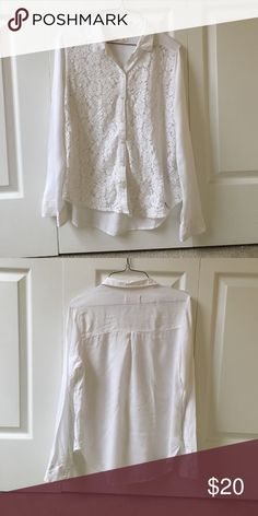 Hollister white lace button down Hollister white lace button down. Hollister Tops Button Down Shirts