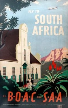 South Africa by BOAC and SAA, 1949 - original vintage poster by E O Seymour listed on AntikBar.co.uk