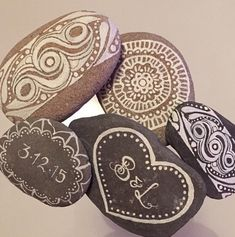 Personalized Wedding Favors, Mandala Painted Wedding Favors, Painted Rocks