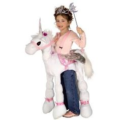 White Ride a Unicorn Girls Costume