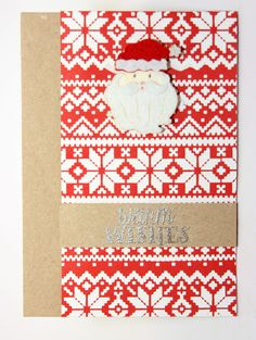 Christmas card with Tim Holtz's stencil Holiday knit, Dutchdobadoo embossing paste and my new favourite embossing powder from Linday's stamp gang: silver moon turqoise a two tone heat embossing powder