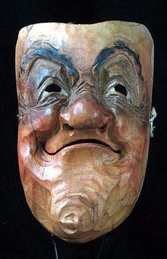 German old folk art face mask, carved wood