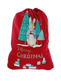 Peter Rabbit Santa Sack in One Colour Elegant Christmas Trees, Whimsical Christmas, Christmas Themes, Christmas Stocking Holders, Stocking Tree, Christmas Stockings, Peter Rabbit Gifts, Peter Rabbit And Friends, Beatrix Potter