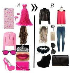 """A vs. B"" by valeriaalexandra-1d on Polyvore featuring moda, Qupid, MICHAEL Michael Kors, Moschino, Uncommon, BB Dakota, J Brand, Forever Link, Balmain y Rifle Paper Co"