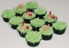 Yes, that is grass icing on top and edible cricket bats Cricket Cake, Fondant, Icing, Cupcakes, Cake Ideas, Teas, Birthday Cakes, Yum Yum, Food
