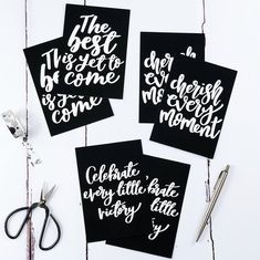 Set Of Six Inspirational Monochrome Postcards by Izzy & Pop, the perfect gift for Explore more unique gifts in our curated marketplace. Cherish Every Moment, In This Moment, The Best Is Yet To Come, Bring It On, Create Your Own, Create Yourself, Pop Collection, New Set, Brighten Your Day