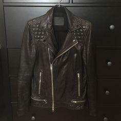 ALL SAINTS Men's Conroy Leather Biker MENS All Saints Conroy Leather Biker. Size XS. Color: Ink (black). 100% lamb leather. Lining: 64% viscose and 36% cotton. Sleeve lining: 100% polyester. Lining is still in great condition. Specialist dry clean only. All Saints Jackets & Coats