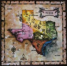 Colorful Texas Map Vintage