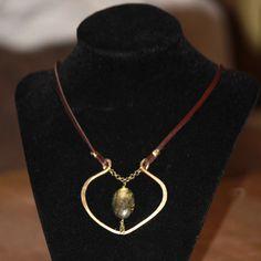 Burning Heart of Smashed Bronze, Lustrous Labradorite and Buttery Deer Skin. 125.00 by Pamela DeSantis Tachibana