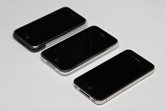 Original iPhone 8GB, iPhone 3G 16GB White and iPhone 4 32GB Black.     Hmm I like