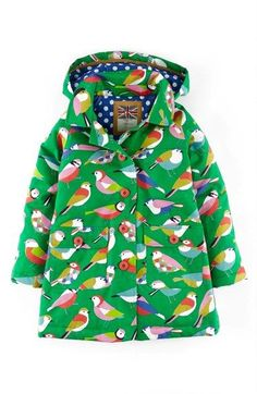 Mini Boden Fun Waterproof Hooded Jacket (Toddler Girls, Little Girls & Big Girls) Fashion Kids, Little Fashion, Toddler Fashion, Look Fashion, Baby Outfits, Outfits Niños, Cute Outfits For Kids, Mini Boden, Waterproof Hooded Jacket