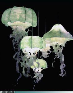 Paper Sculpture Lighting Jellyfish Artist Geraldine Of Diy Jellyfish Lamp Jellyfish Light, Jellyfish Facts, Jellyfish Drawing, Jellyfish Painting, Jellyfish Aquarium, Ocean Room, Home And Deco, Lampshades, Diy Lampshade