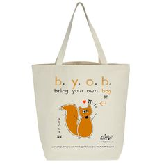 Recycled cotton canvas tote bag with screen printed by BuggedOut
