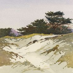 """point reyes by Larry Cannon Watercolor ~ 8"""" x 8"""""""