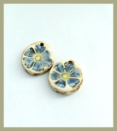 Periwinkle Blue Flower Earring Charms, Ceramic Stoneware Jewelry Components, Handcrafted Pottery Beads, Artisan Jewelry Components by LemonIslandTreasures on Etsy