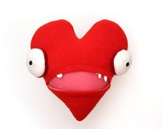 Crazy Moody Heart Cotton Monster by cottonmonster on Etsy, $48.00