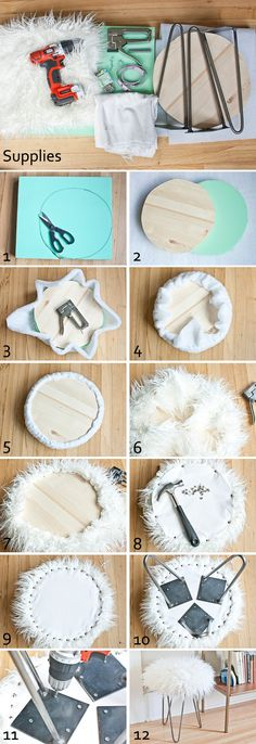 faux fur stool  Supplies: Faur fur – I used 1/2 yard of this curly mongolian faux fur Hairpin legs – I used 3 14-inch legs that I found locally at The Reclaimory, but you can find similar ones online here Foam – I used this 2-inch thick high density foam Backing fabric – I used lightweight canvas Wood round – I cut down a 15-inch wood round to 12-inches, but you can buy a 12-inch round here Wood screws – I used #6 3/4-inch screws Decorative nails – I used these 3/8-inch nails Sharpie