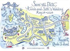 Letterpress and hand painted save the date card for a destination wedding in Newport, Rhode Island.