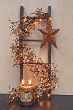 Country decorating ladder.. they have those huge candles at a store in Enumclaw! @ Pin Your Home